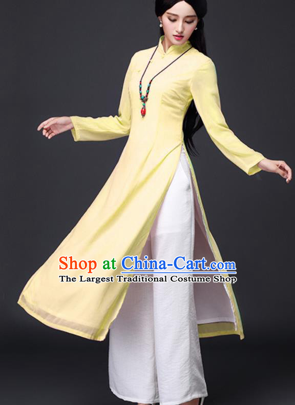 Traditional Chinese Classical Yellow Veil Cheongsam National Costume Tang Suit Qipao Dress for Women