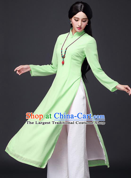 Traditional Chinese Classical Green Veil Cheongsam National Costume Tang Suit Qipao Dress for Women