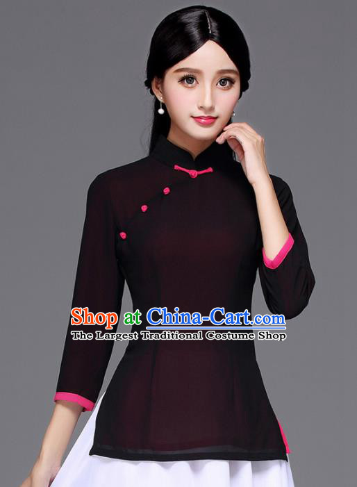 Chinese Traditional National Tang Suit Black Blouse Classical Shirt Upper Outer Garment for Women