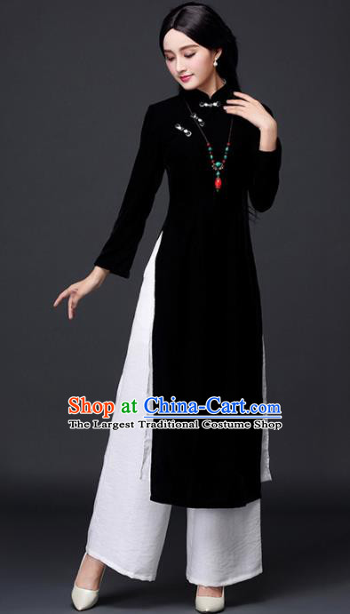 Traditional Chinese Classical Black Velvet Cheongsam National Costume Tang Suit Qipao Dress for Women