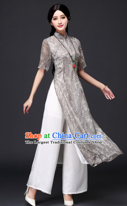 Traditional Chinese Classical Grey Organza Cheongsam National Costume Tang Suit Qipao Dress for Women