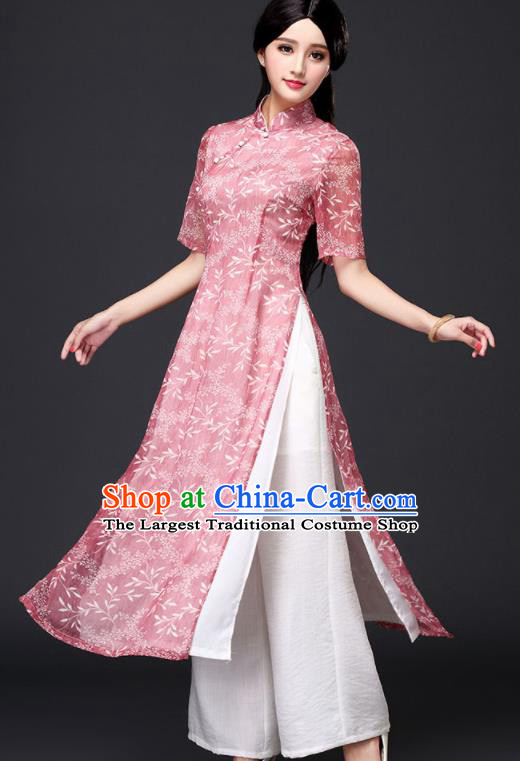 Traditional Chinese Classical Pink Organza Cheongsam National Costume Tang Suit Qipao Dress for Women