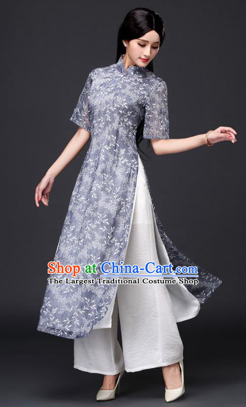 Traditional Chinese Classical Blue Organza Cheongsam National Costume Tang Suit Qipao Dress for Women