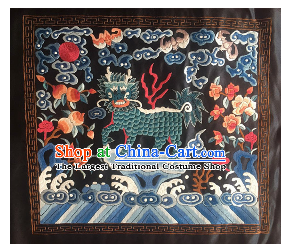 Traditional Qing Dynasty Style Officer Bu Zi Kylin Handmade Embroidery Arts