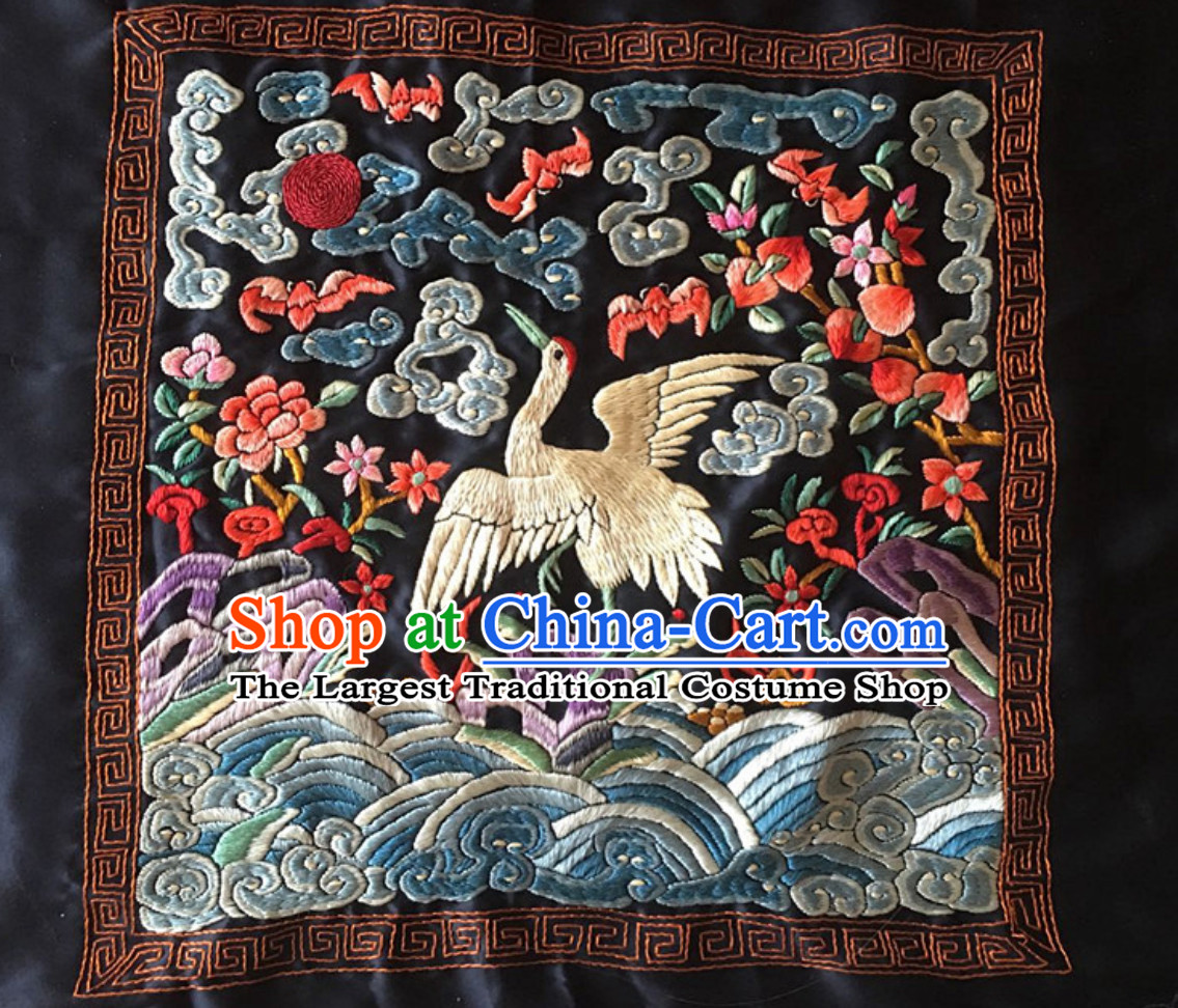 Traditional Qing Dynasty Style Officer Bu Zi Crane Handmade Decoration Embroidery Arts