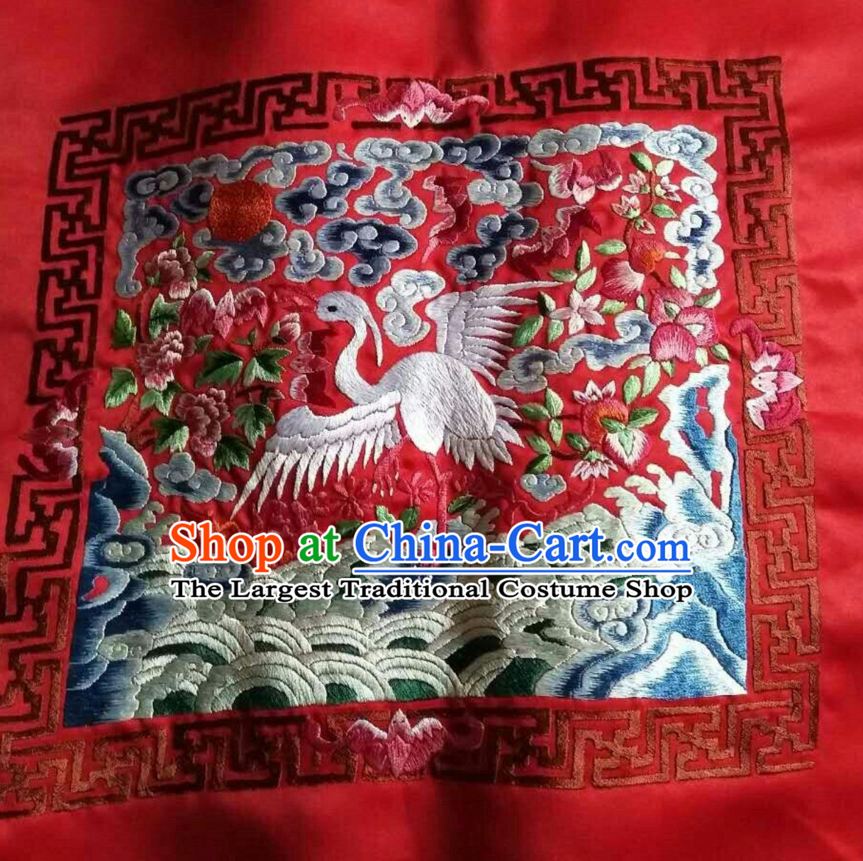 Red Traditional Qing Dynasty Style Officer Bu Zi Dragon Handmade Decoration Embroidery Arts