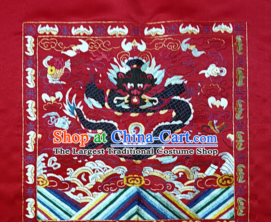 Traditional Qing Dynasty Style Officer Bu Zi Dragon Embroidery Works Arts