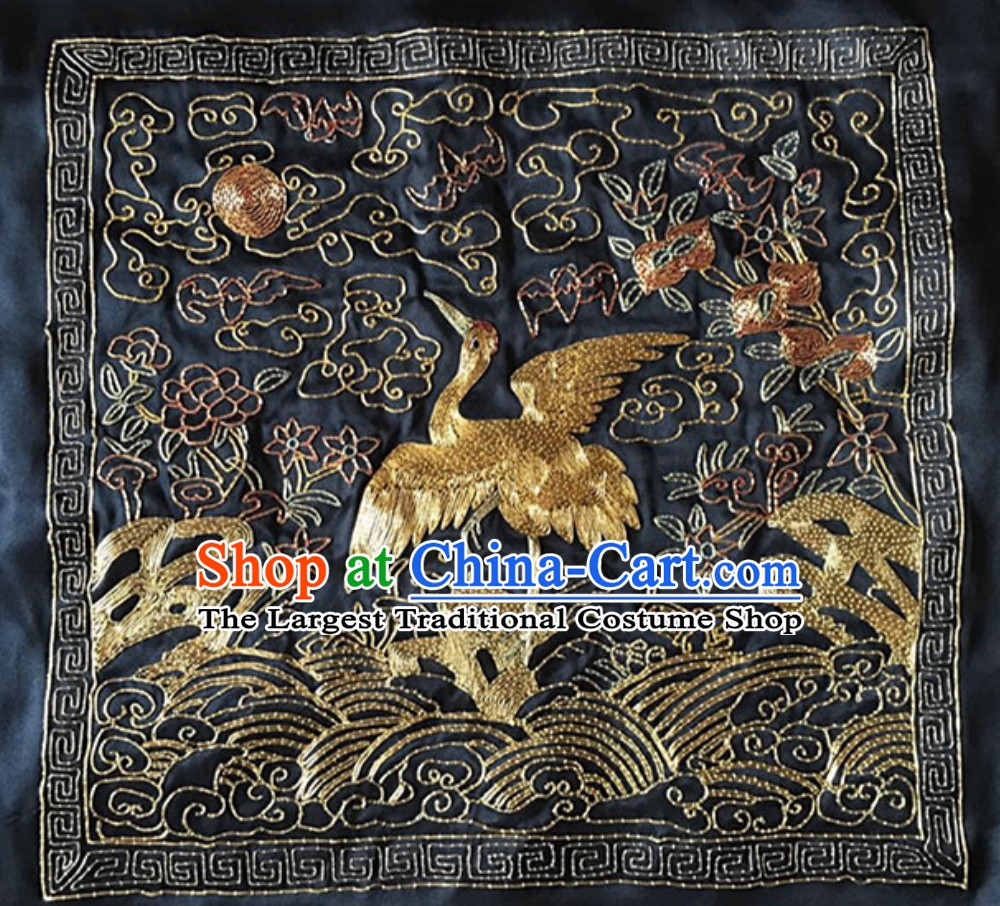 Traditional Qing Dynasty Style Officer Bu Zi Crane Embroidery Arts