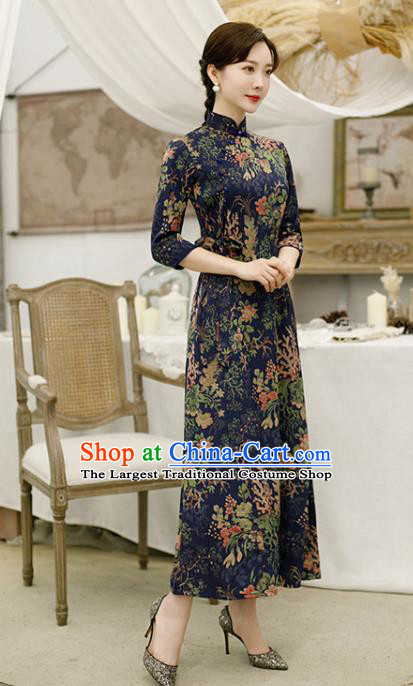 Traditional Chinese Classical Deep Blue Cheongsam National Costume Tang Suit Qipao Dress for Women