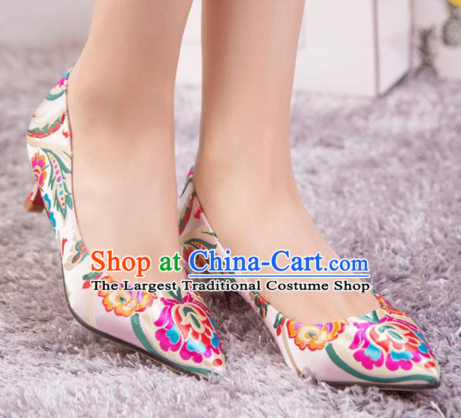 Chinese Wedding Shoes Pink Shoes Hanfu Shoes Bride High Heels Shoes for Women