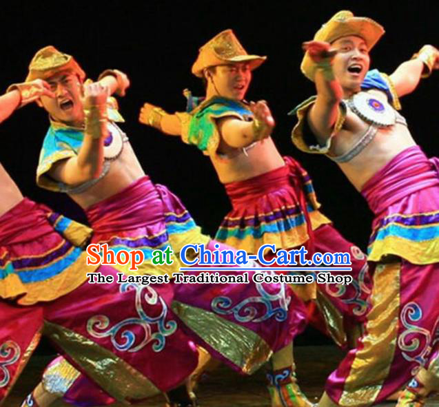 Traditional Chinese Zang Nationality Dance Costume Tibetan Ethnic Stage Show Clothing for Men