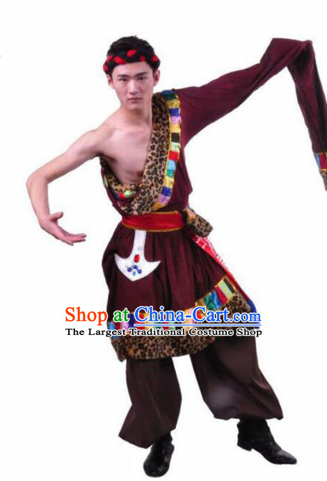 Chinese Traditional Zang Nationality Dance Brown Costume Tibetan Ethnic Folk Dance Stage Show Clothing for Men