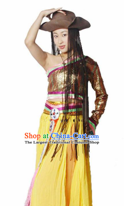 Traditional Chinese Zang Nationality Yellow Dress Tibetan Ethnic Dance Stage Show Costume for Women