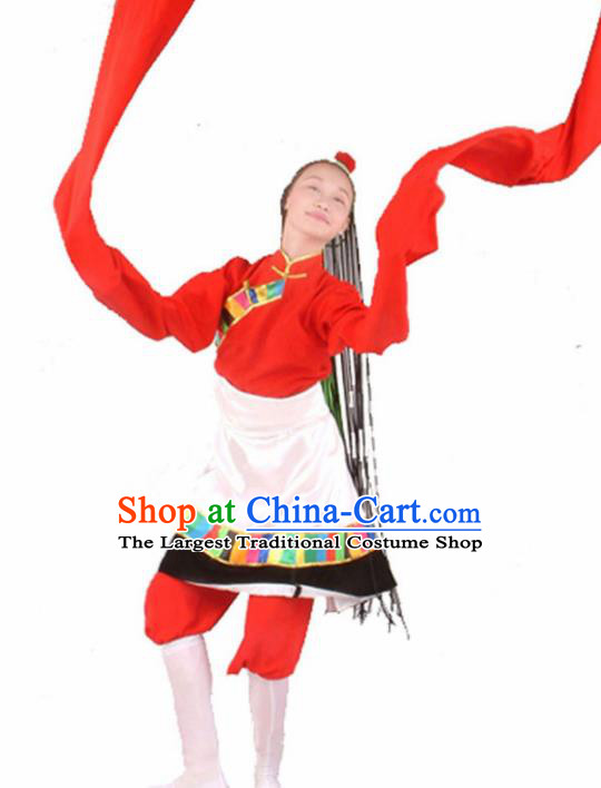 Traditional Chinese Zang Nationality Water Sleeve Dress Tibetan Ethnic Dance Stage Show Costume for Women