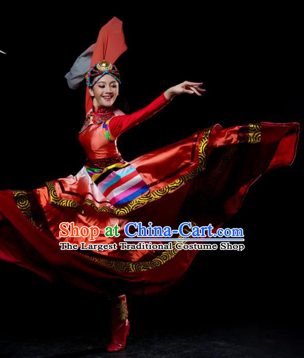 Traditional Chinese Zang Nationality Dance Red Dress Tibetan Ethnic Dance Stage Show Costume for Women