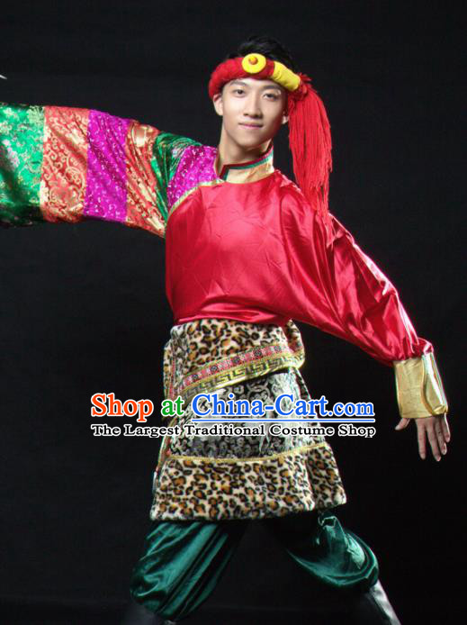 Chinese Traditional Zang Nationality Dance Costume Tibetan Ethnic Folk Dance Stage Show Clothing for Men