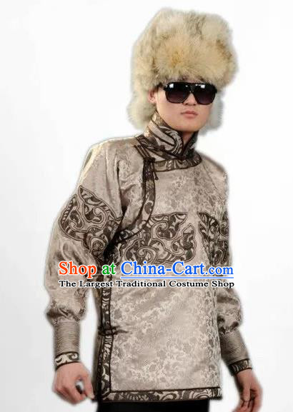 Chinese Traditional Mongol Nationality Costume Mongolian Ethnic Khaki Jacket for Men