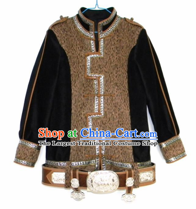 Chinese Traditional Mongol Nationality Costume Mongolian Ethnic Jacket for Men