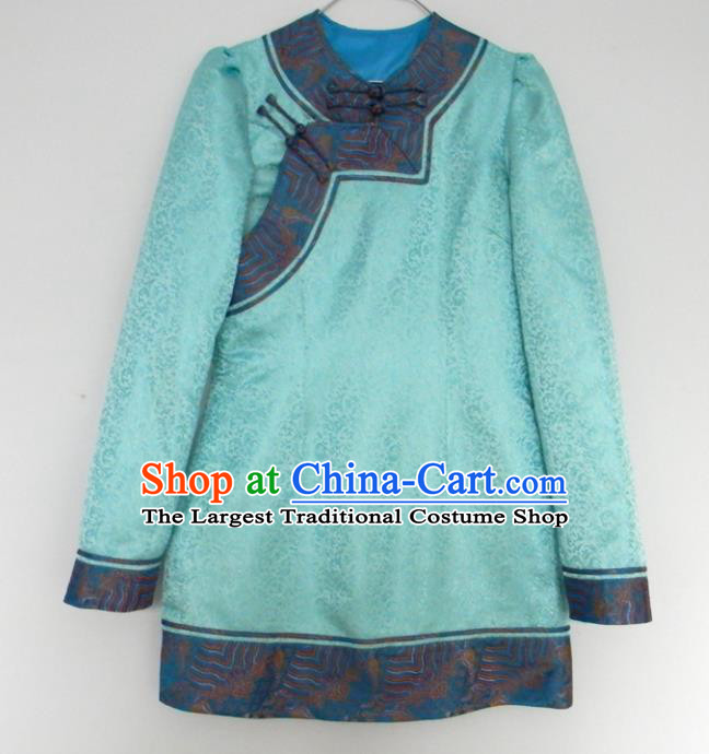 Chinese Traditional Mongol Nationality Costume Mongolian Ethnic Blue Jacket for Men