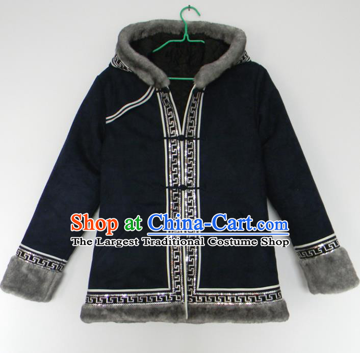 Chinese Traditional Mongol Nationality Winter Costume Mongolian Ethnic Cotton Padded Jacket for Men