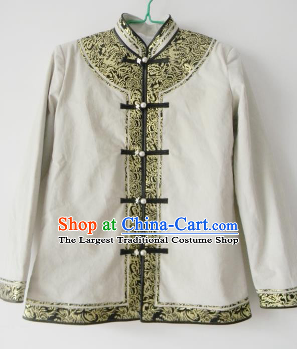 Chinese Traditional Mongol Nationality Costume Mongolian Ethnic White Jacket for Men