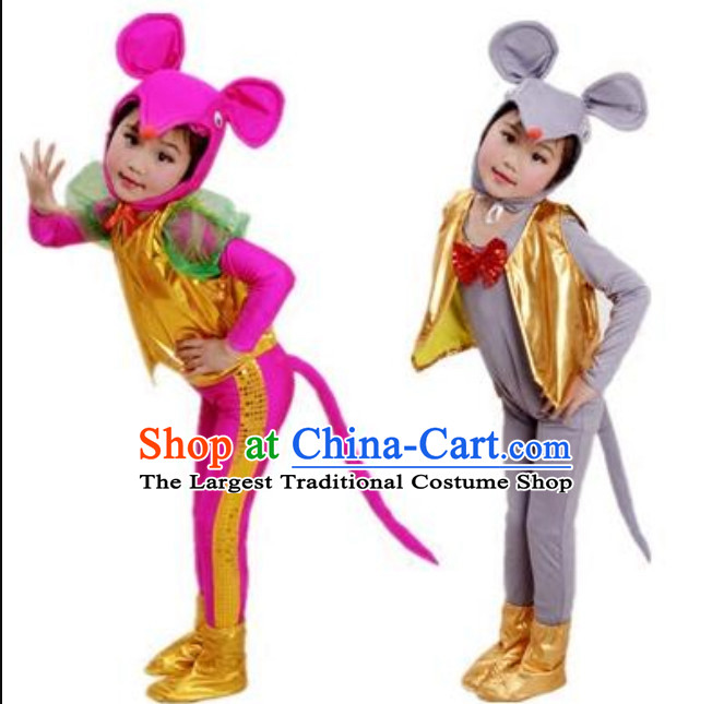 Chinese Lunar New Year Celebration Rat Year Mouse Dance Costume Complete Set for Children