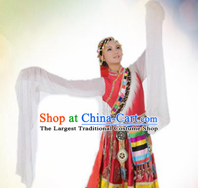 Traditional Chinese Zang Nationality Dance Costume Tibetan Ethnic Dance Stage Show Dress for Women