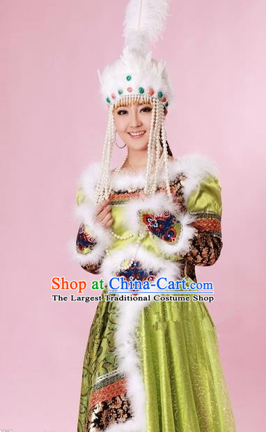 Traditional Chinese Mongol Nationality Green Costume Mongolian Ethnic Dance Stage Show Dress for Women