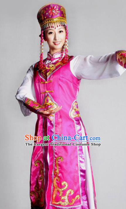Traditional Chinese Mongolian Nationality Rosy Costume Mongol Ethnic Dance Stage Show Dress for Women