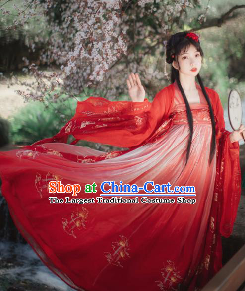 Chinese Tang Dynasty Princess Wedding Red Hanfu Dress Traditional Ancient Court Lady Costumes for Women