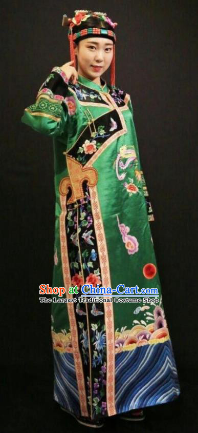 Traditional Chinese Mongol Nationality Green Dress Mongolian Ethnic Dance Stage Show Costume for Women