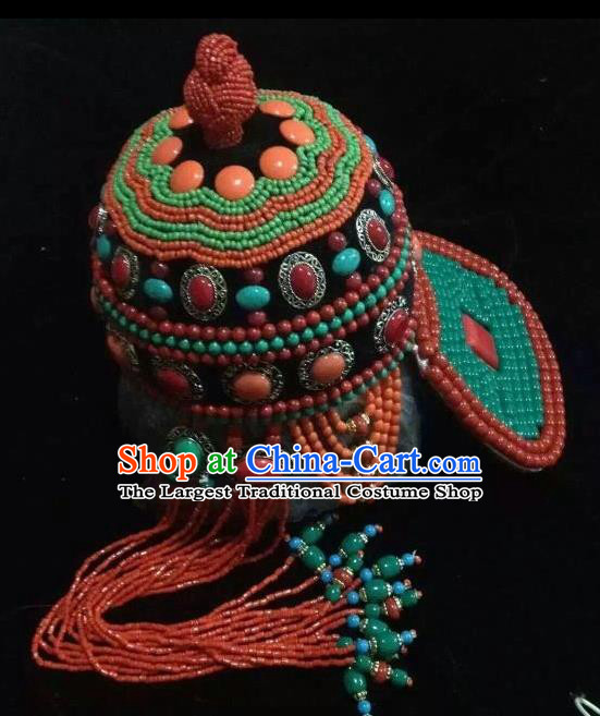 Traditional Chinese Mongol Nationality Hair Accessories Mongolian Ethnic Wedding Tassel Hat for Women