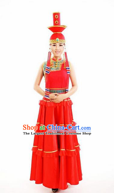 Traditional Chinese Mongol Nationality Wedding Red Dress Mongolian Ethnic Dance Costume and Hat for Women