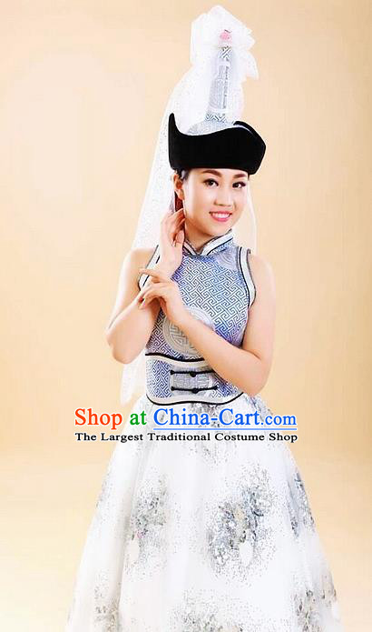 Traditional Chinese Mongol Nationality White Dress Mongolian Ethnic Dance Costume and Hat for Women