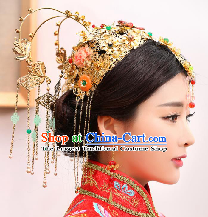 Chinese Traditional Wedding Golden Phoenix Coronet Tassel Hairpins Ancient Bride Hair Accessories for Women