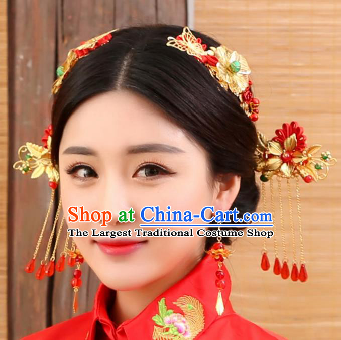 Chinese Traditional Wedding Tassel Hair Clip Hairpins Ancient Bride Hair Accessories for Women