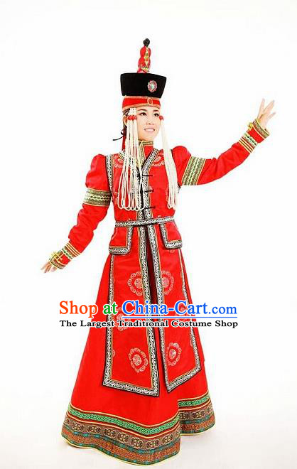 Traditional Chinese Mongol Nationality Red Dress Mongolian Ethnic Dance Costume and Hat for Women