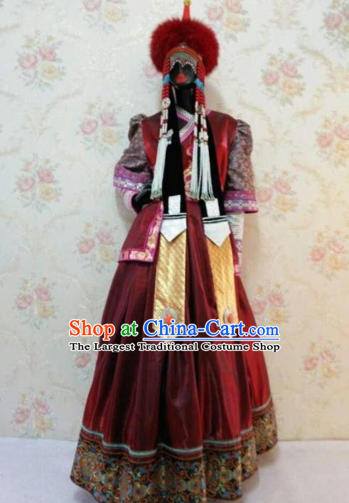Traditional Chinese Mongol Nationality Stage Show Wine Red Dress Mongolian Ethnic Dance Costume for Women