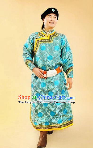 Chinese Traditional Mongol Nationality Costumes Mongolian Ethnic Blue Robe for Men