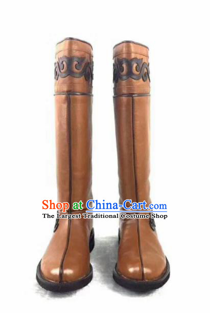 Chinese Traditional Mongol Nationality Khaki Leather Boots Mongolian Ethnic Riding Boots for Men