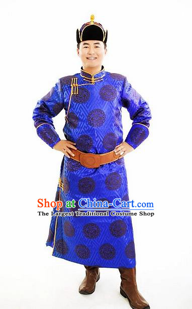 Chinese Traditional Mongol Nationality Costumes Mongolian Ethnic Prince Royalblue Robe for Men