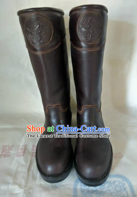 Chinese Traditional Mongol Nationality Brown Leather Boots Mongolian Ethnic Riding Boots for Men
