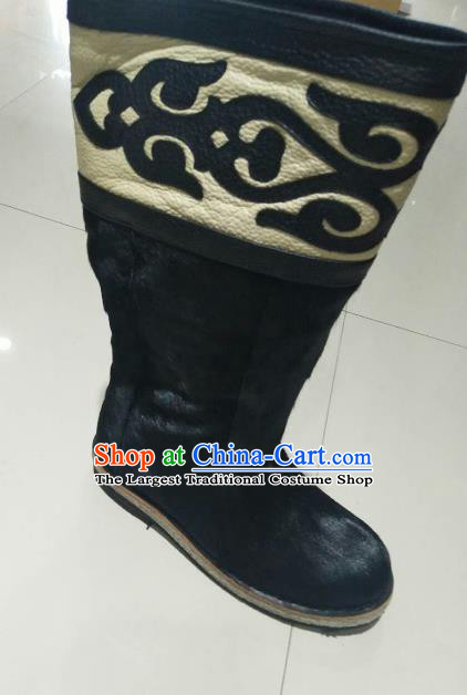 Chinese Traditional Mongol Nationality Black Fur Boots Mongolian Ethnic Leather Riding Boots for Men