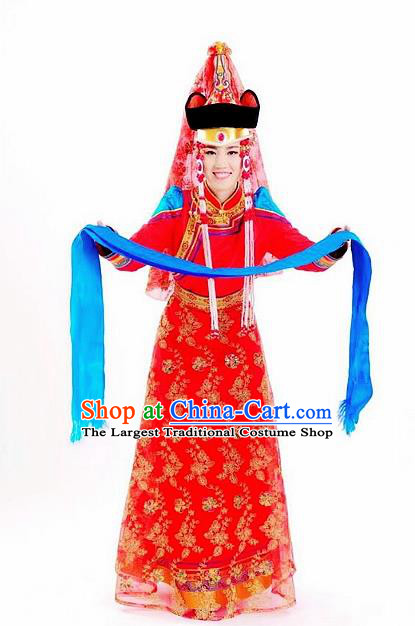 Traditional Chinese Mongol Nationality Wedding Red Dress and Hat Mongolian Ethnic Dance Costume for Women