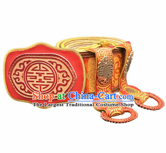 Traditional Chinese Mongol Nationality Red Leather Belt Mongolian Ethnic Waistband for Men