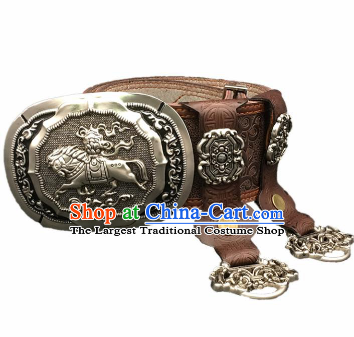 Traditional Chinese Mongol Nationality Coffee Leather Belt Mongolian Ethnic Waistband for Men