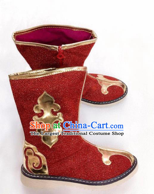 Chinese Traditional Mongol Nationality Red Boots Mongolian Ethnic Leather Riding Boots for Kids