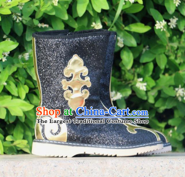 Chinese Traditional Mongol Nationality Black Boots Mongolian Ethnic Leather Riding Boots for Kids