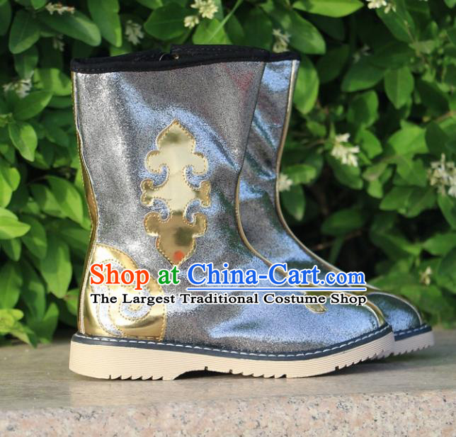 Chinese Traditional Mongol Nationality Grey Boots Mongolian Ethnic Leather Riding Boots for Kids