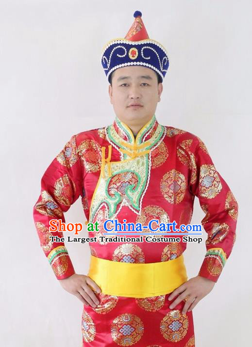 Chinese Traditional Mongol Nationality Red Costumes Mongolian Ethnic Dance Robe for Men